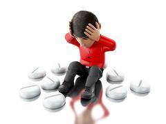 3d people with headache, needs pills. Stock Illustration