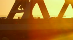 Camera pursues the car on the bridge Stock Footage