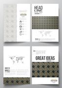 Set of business templates for brochure, magazine, flyer, booklet. Islamic gold Stock Illustration