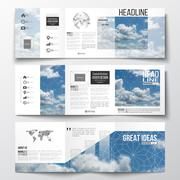 Set of tri-fold brochures, square design templates. Beautiful blue sky, abstract Stock Illustration
