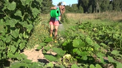 Young woman watering vegetable harvest garden in summer. 4 Stock Footage