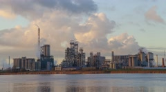 Factory in the industrial area of Antwerp in the evening Stock Footage