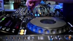 Mixer, console for records, Sketcher DJ, player, DJ at work, disco, night club Stock Footage