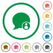Blog comment owner outlined flat icons Stock Illustration