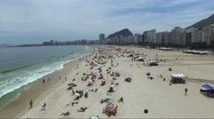 Aerial View of Crowd of People Copacabana Beach, Rio de Janeiro, Brazil Stock Footage