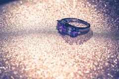 Black Ring with Amethyst Stock Photos