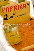 Paprika, street market in Castellane, Provence, France Stock Photos