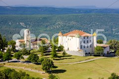 Church and chateau in Aiguines, Var Departement, Provence, France Stock Photos