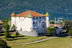 Chateau in Aiguines, Var Departement, Provence, France Stock Photos