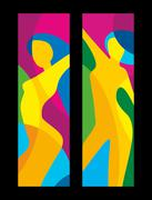 The dancing beautiful girl on a colorful background. Abstract vector flat Stock Illustration