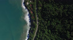 Top View of Highway in a Coastline Landscape, Sao Sebastiao, Brazil Stock Footage