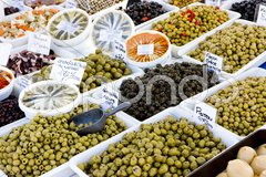 Olives, street market in Salles-sur-Verdon, Provence, France Stock Photos