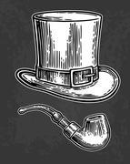 Top gentleman hat and smoking pipe. Stock Illustration