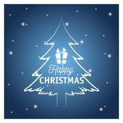 Merry christmas pinetree design Stock Illustration