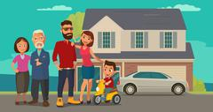 Family. Parents, grandparents and child on a tricycle on background with hous Stock Illustration