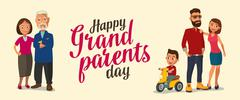 Happy family. Parents, grandparents and child on a tricycle. Stock Illustration