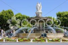 Fountain at La Rotonde, Aix-en-Provence, Provence, France Stock Photos