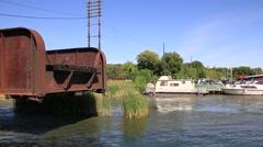 Boat Passing Railway Swing Bridge in Orillia Stock Footage