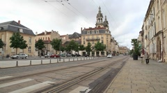 Modern tram in Nancy, France Stock Footage