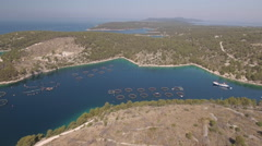 Aerial view of fish farm - Adriatic sea, Croatia Stock Footage