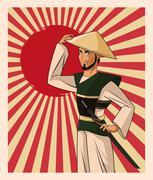 Samurai man cartoon design Stock Illustration