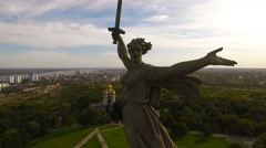 Volgograd. Mamayev Kurgan.The Motherland Stock Footage