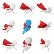 3d man - brave superhero with red cloak Stock Illustration