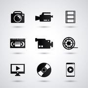 Video movie and media icon set Stock Illustration