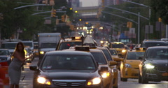 Crowded New York City street traffic at dusk Stock Footage