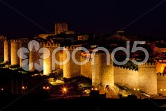 Avila at night, Castile and Leon, Spain Stock Photos