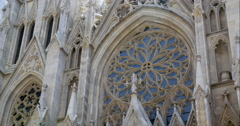 Tilt down CU on old New York City church Stock Footage