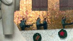 Guard of Honour Walking Around the Eternal Fire in Hero Hall of Mamayev Kurgan Stock Footage