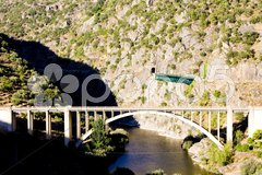 Railway and road viaducts in Douro Valley, Portugal Stock Photos
