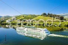 Cruise ship at Peso da Regua, Douro Valley, Portugal Stock Photos