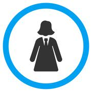 Business Lady Flat Rounded Vector Icon Stock Illustration