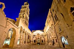 Split historic landmarks evening view Stock Photos