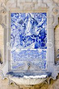 Tile painting with fountain, Cordoba, Andalusia, Spain Stock Photos