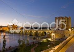 Roman bridge with Calahorra tower at night, Cordoba, Andalusia, Spain Stock Photos