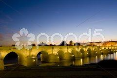 Roman bridge at night, Cordoba, Andalusia, Spain Stock Photos