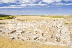 Archaeological place, Roman city of Segobriga, Saelices, Castile-La Mancha, Spai Stock Photos