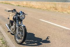 Motorcycle parking on road Stock Photos