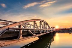 Jiu Bridge at sunset Stock Photos