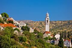 Old stone village of Lozisca on Brac Stock Photos