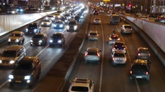 Minor traffic accident with police car and officer on the night highway Stock Footage