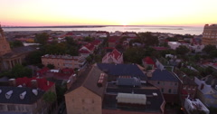Aerial Flyby of Downtown Charleston SC and French Huguenot Church Stock Footage