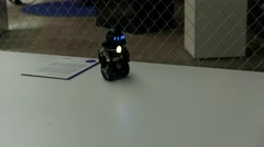 Balancing robot with blue LED eyes moving forward and back Stock Footage