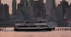 New York Waterway boat along the Hudson River in slow motion Stock Footage