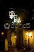 Town hall and Old Castle at night, Banska Stiavnica, Slovakia Stock Photos