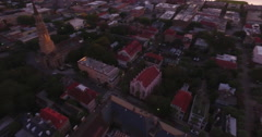 Aerial Flyover of French Huguenot Church in Charleston SC Stock Footage