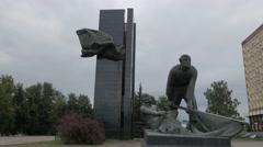 Russia Ivanovo revolution square city hall 4K Stock Footage